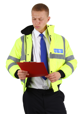 Door supervisor with hi vis